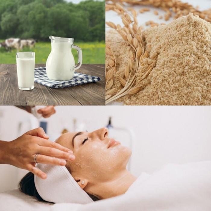 Cách dưỡng trắng da mặt bằng cám gạo và sữa tươi