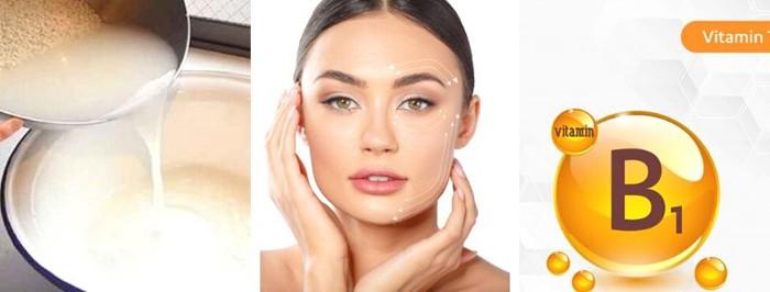 Cách dưỡng trắng da mặt bằng nước vo gạo và vitamin B1