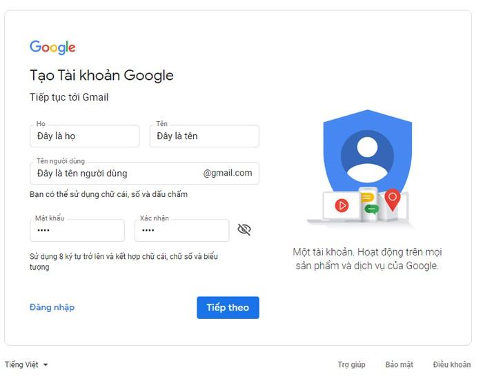 Cách tạo Gmail trên máy tính – Bước 2