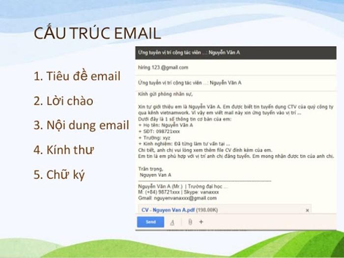 Đính kèm các tài liệu trong email xin việc