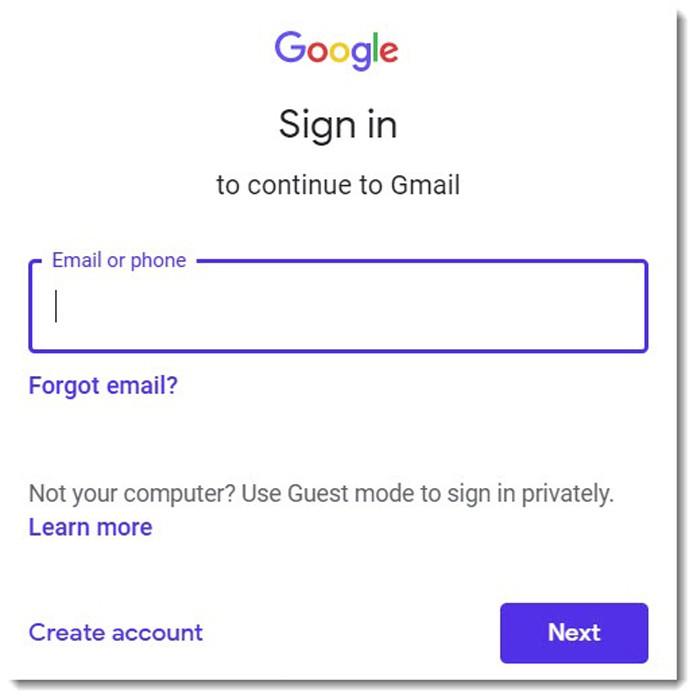 Đăng nhập Gmail trên máy tính