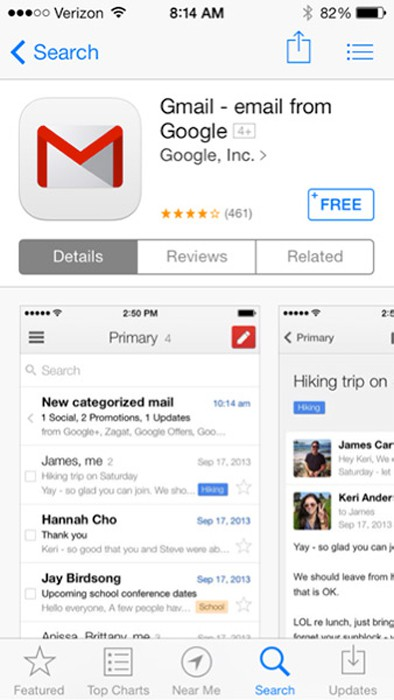 Download Gmail trên cửa hàng Playstore