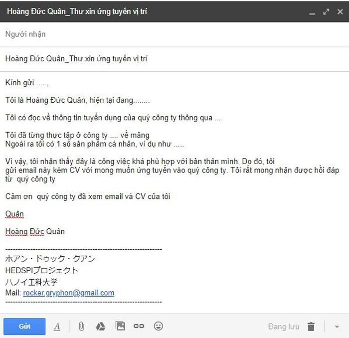 Cách viết mail xin việc chuyên nghiệp, ấn tượng