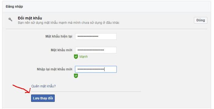 nhập mật khẩu hiện tại và mật khẩu mới