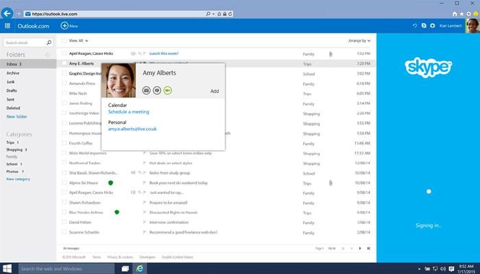 Outlook tích hợp với Skype giúp bạn có thể trò chuyện qua Skype