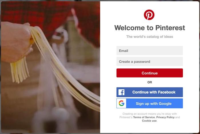 Tạo tài khoản Pinterest miễn phí bằng email, tài khoản Facebook hoặc Google