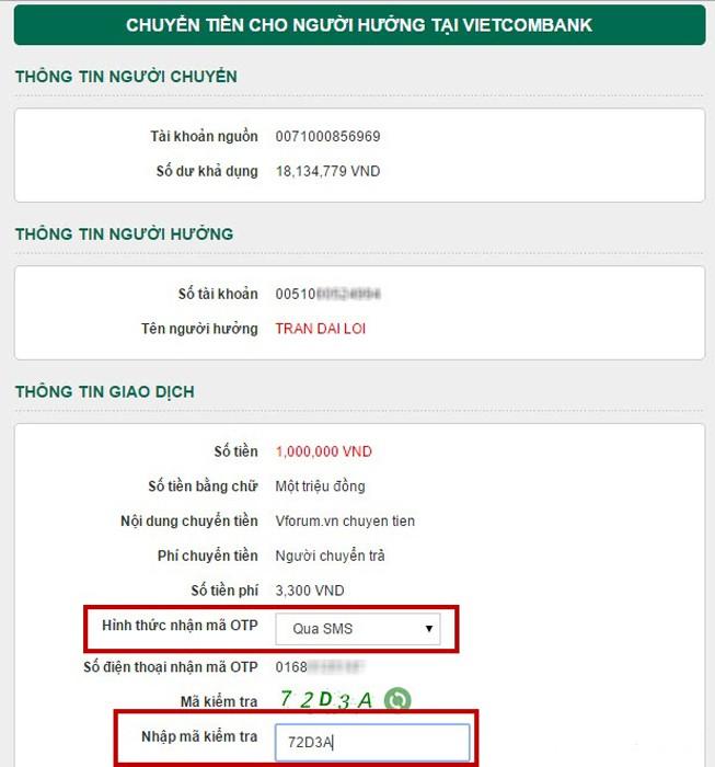 Nhập mã kiểm tra để nhận OTP về điện thoại
