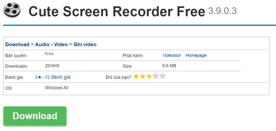 Cute Screen Recorder Free là phần mềm có giao diện khá đơn giản và rất dễ sử dụng.