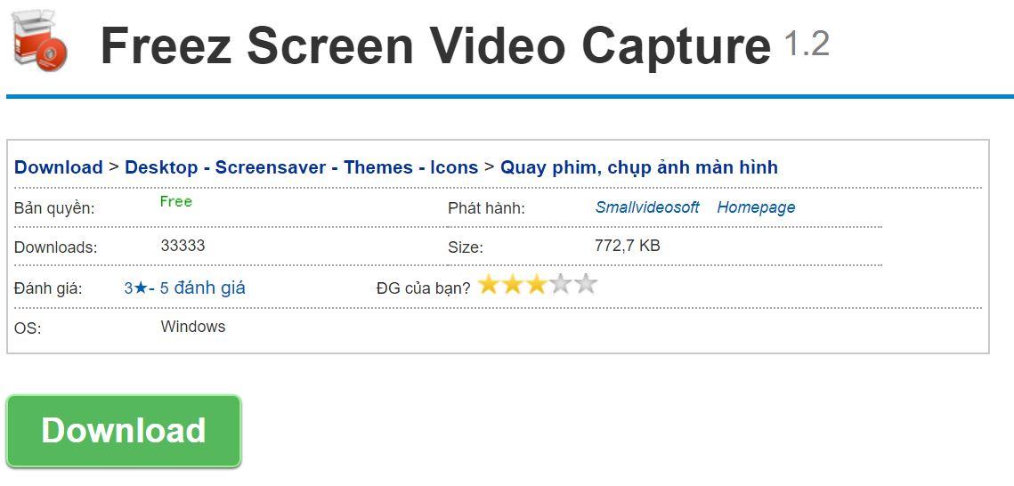 Freez Video Capture là phần mềm hỗ trợ quay màn hình máy tính hoàn toàn miễn phí.