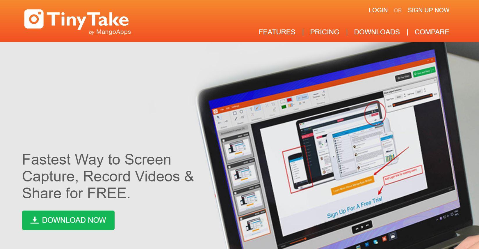 TinyTale là phần mềm tích hợp 2 trong 1, vừa quay màn hình vừa có thể chụp ảnh màn hình.