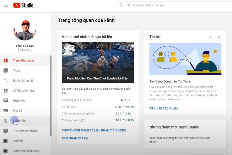 Cách đăng ký kiếm tiền trên Youtube
