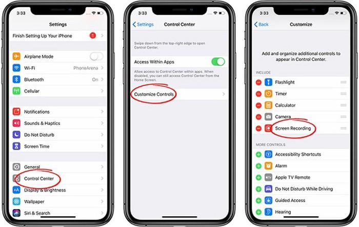 Thực hiện quay màn hình trên iPhone theo các thao tác trong ảnh