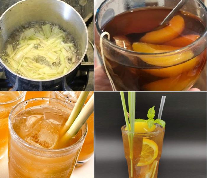 Các bước đơn giản cho món trà đào chanh sả