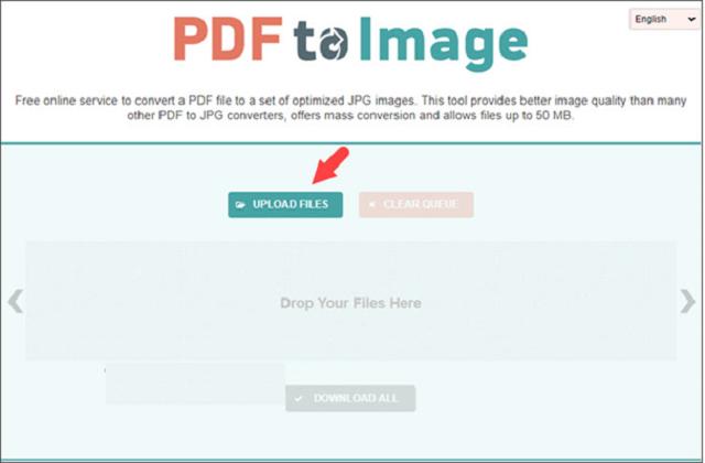 "Giao diện pdf to Image với""Upload Files"" hiển thị"