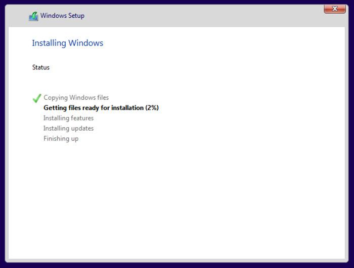 Chờ đợi window 10 chạy chương trình cài đặt