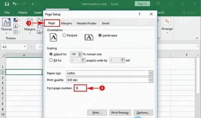 Cách để đánh số trang bất kỳ trong Excel