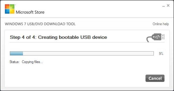 Chờ cho quá trình cài đặt USB thành công