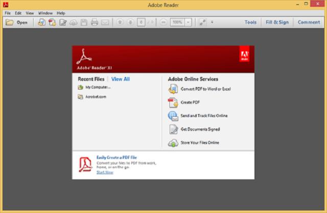 Giao diện màn hình mở file pdf