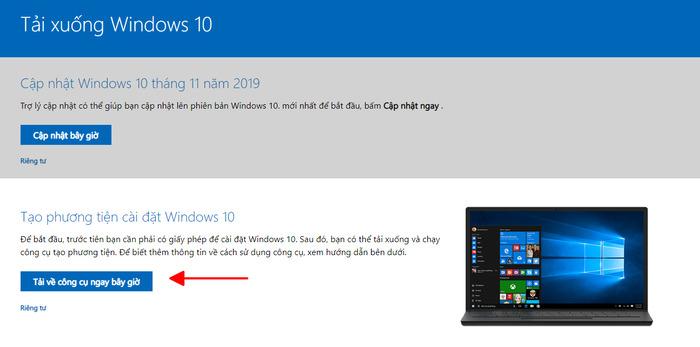 Tải win 10 từ trang chủ của Microsoft