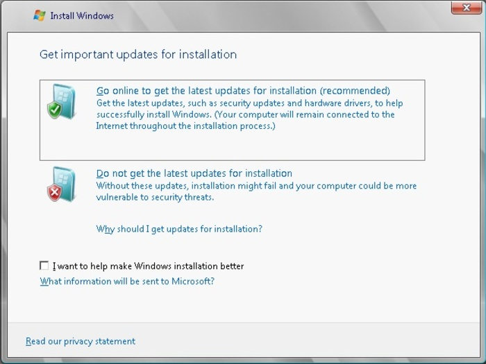 """Bạn hãy chọn """"Do not get the latest updates for installation"""""""