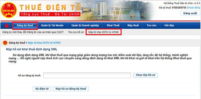 Khai thuế từ trang điện tử thuedientu.gdt.gov.vn