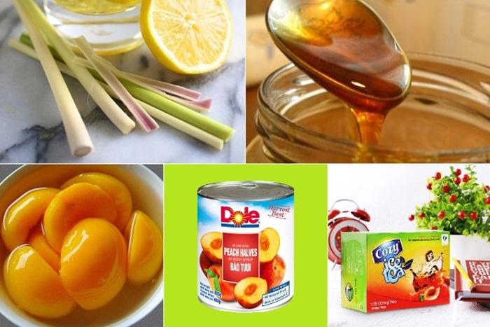 Nguyên liệu cho món trà đào chanh sả