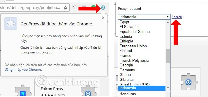 Search chọn Indonesia