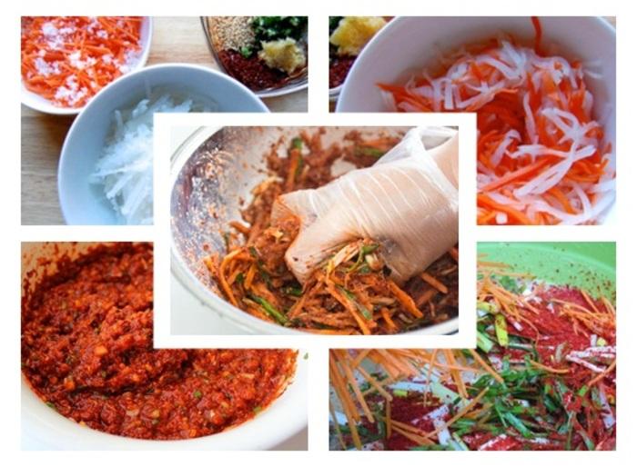 Bước Tiếp theo cho nửa quả lê, tỏi, gừng, ớt và sốt gạo nếp cá khô vào xay nhuyễn