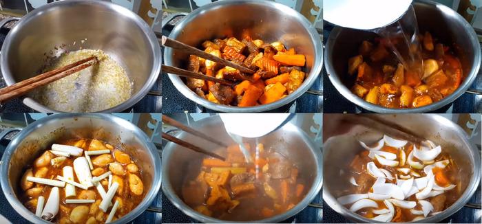 Các công đoạn nấu bò kho chay