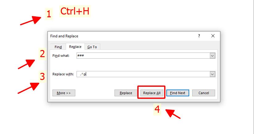 """Nhấn tiếp tổ hợp phím Ctrl + H để vào trong Find what và nhập ký tự xuống dòng là """"^p"""", mục Replace with hãy nhập khoảng trắng và chọn Replace All."""