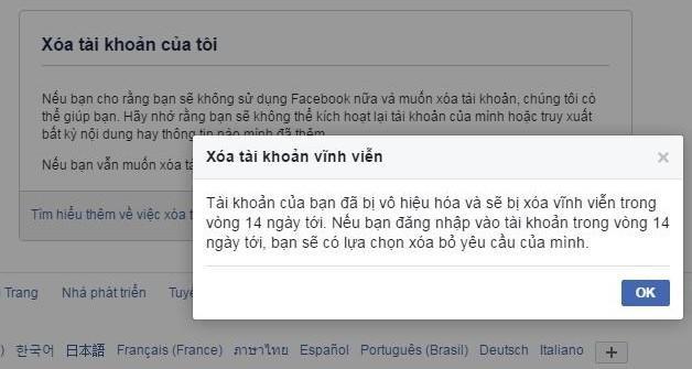 Chọn OK là bạn đã thực hiện xong khóa tài khoản Facebook