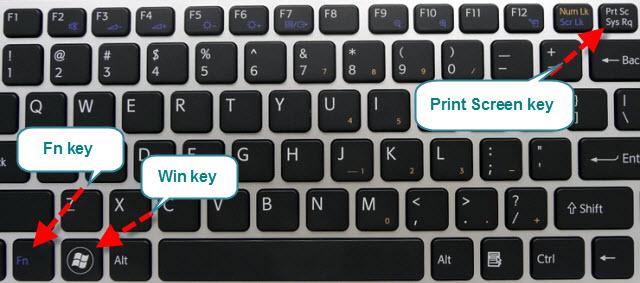 Chụp màn hình tự động lưu nếu phím PrtSc cần thêm Fn và có màu chữ khác