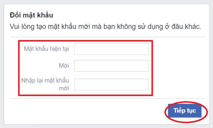 Đổi mật khẩu mới cho Facebook