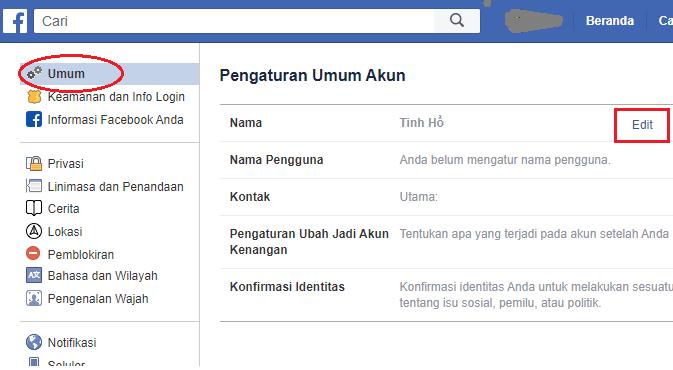 Chọn Edit để tiếp tục thay đổi tên Facebook