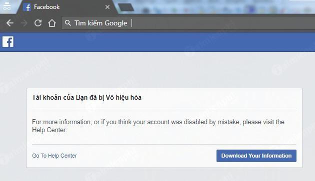Giao diện vô hiệu hóa Facebook