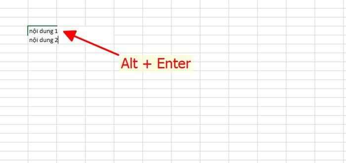 Cách xuống dòng đơn giản bằng tổ hợp phím trong excel 2010.