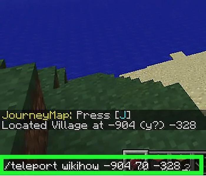 Bước 5: Di chuyển đến tọa độ ngôi làng