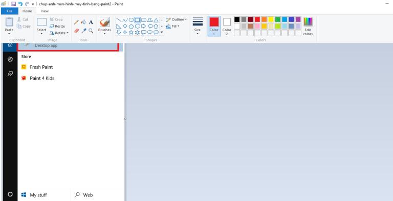 Nhấn Ctrl + V để dán ảnh vào Paint
