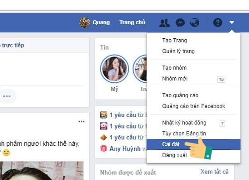 Phần cài đặt của facebook