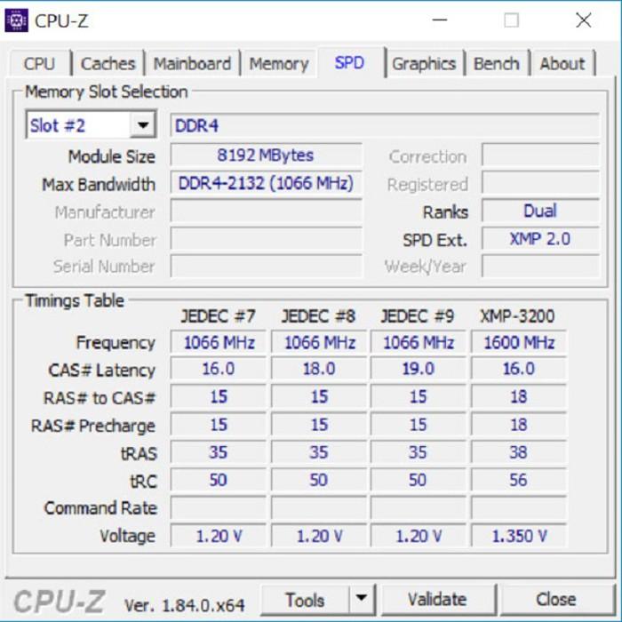 Tab SPD cho phép biết được thông số cụ thể của từng khe cắm RAM