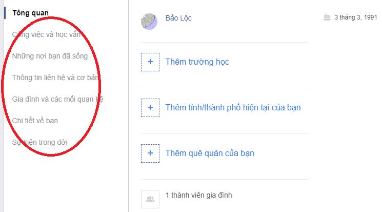 Thay đổi thông tin trùng khớp với người bạn muốn xóa Facebook tại các tab phần Tổng quát