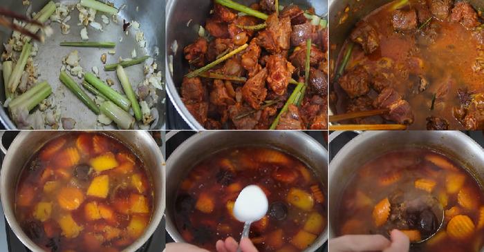 Tiến hành các bước nấu bò kho miền Trung