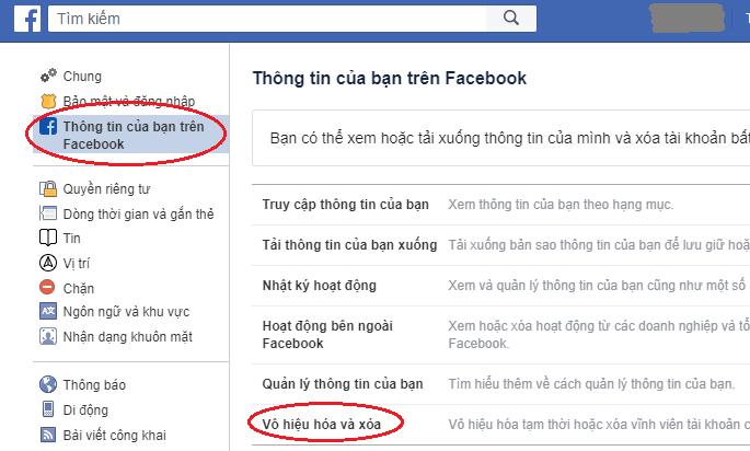Tìm và chọn phần Vô hiệu hóa và xóa trong thông tin của bạn trên Facebook