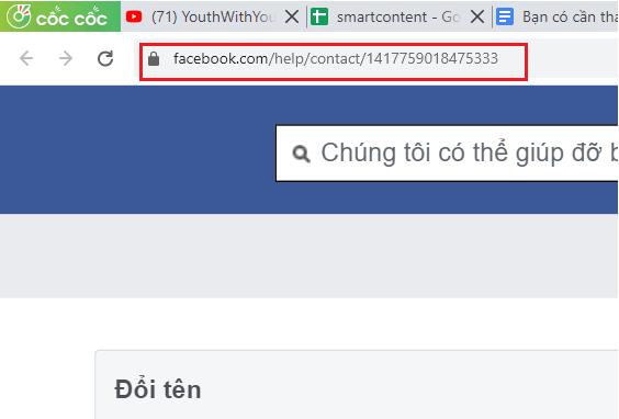 Truy cập đường link đổi tên Facebook