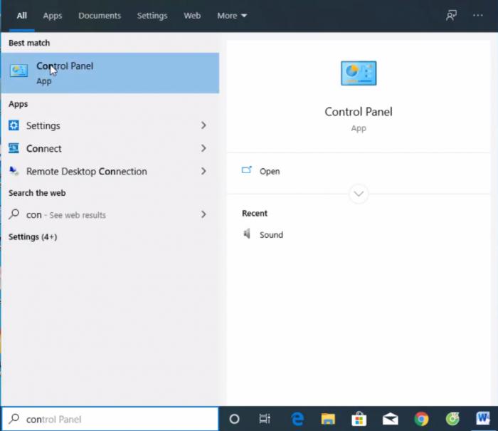 Tim Control Panel trên thanh tìm kiếm của Windows