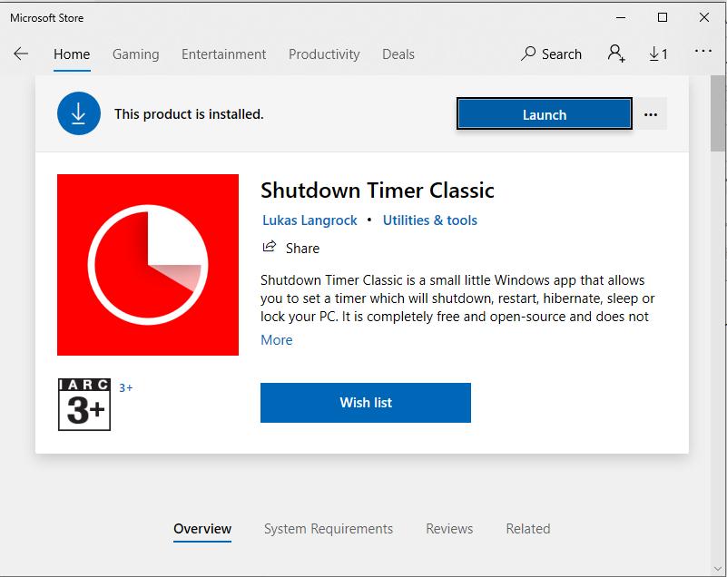 Khi tải xong bạn nhập vào mục tìm kiếm và nhập tên ứng dụng Shutdown Timer để cài đặt hẹn giờ tắt máy tính.
