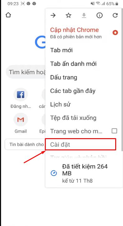 Vào dấu 3 chấm ở góc Google chrome và bấm vào phần cài đặt