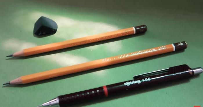 1 cây bút chì gỗ hoặc bút chì kim đều được và một cục gôm