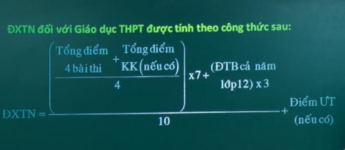 Điểm xét tốt nghiệp đối với Giáo dục THPT được tính theo công thức sau: