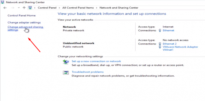 Chọn Change advanced sharing settings